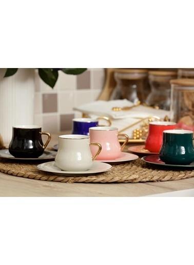 Arow 6 Renk Tombul 6 Kişilik Türk Kahvesi Fincanı Renkli